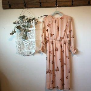 LC LAUREN CONRAD smocked floral midi dress